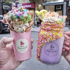 """""""SPACE JAM"""" & """"BUGS BUNNY"""" #newterritoriesny @jaenyceats #ube #truffle #Easter #LES #NYC Yummy Treats, Delicious Desserts, Sweet Treats, Yummy Food, Milkshakes Nyc, Candy Drinks, Nyc Life, Food Goals, Dessert For Dinner"""