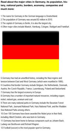 Fun facts about Germany for kids http://firstchildhoodeducation.blogspot.com/2013/08/fun-facts-about-germany-for-kids.html