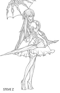 Fairy Coloring Pages, Animal Coloring Pages, Adult Coloring Pages, Coloring Books, Anime Drawings Sketches, Manga Drawing, Art Drawings, Desenhos League Of Legends, Anime Lineart
