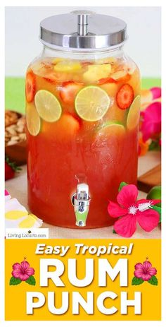 Rum Punch Recipes, Alcohol Drink Recipes, Cocktail Recipes, Alcoholic Punch Recipes, Alcoholic Shots, Alcoholic Beverages, Alcoholic Party Punches, Summer Alcoholic Punch, Alcoholic Jungle Juice