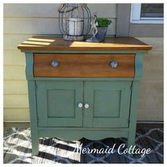 Refinished Antique Washbasin / Commode done in Vertigris FAT paint by Mermaid Cottage, Nova Scotia