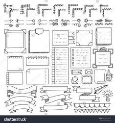 Bullet journal hand drawn vector elements for notebook, diary and planner. Doodle banners isolated on white background. Bullet Journal School, Bullet Journal Inspo, Bullet Journal Boxes, Bullet Journal Headers, Bullet Journal Banner, Bullet Journal Lettering Ideas, Bullet Journal Aesthetic, Bullet Journal Writing, Book Journal