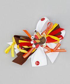 Another great find on #zulily! Brown & Orange Turkey Bow Clip #zulilyfinds