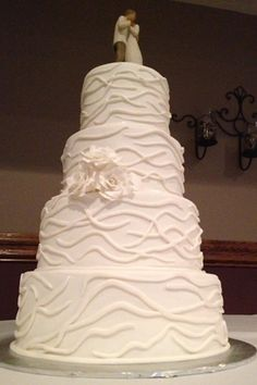 Custom Four Tier Fondant Wedding Cake With Flowers Made By Creations In Rockford