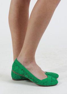 Crochet Slip-On Flat #green
