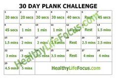 Best 30 Day Plank Challenge Printable Calendar