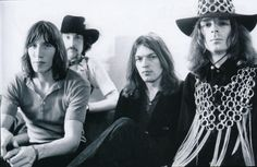 Another early shot of Pink Floyd with Richard wearing his uh, chain mail thingie. Photo by Ray Stevenson