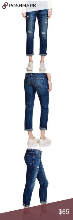 "NWT Current/Elliott The Fling Relaxed Fit Jeans Current/Elliott Relaxed Fit Jeans🔹Brand new with tags🔹Size 24 (I normally wear size 25 and they fit perfectly)🔹The Fling style🔹Color is loved destroy🔹Inseam is 27.5"" (uncuffed)🔹Made to be worn relaxed, low on hips, and rolled at the ankle🔹100% cotton🔹Brand new🔹Destroyed look🔹Smoke and pet free home Current/Elliott Jeans Boyfriend"