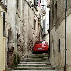 Cosenza Calabria Italy - Parking Italian Style!  only the Italians.. where there is a will there is a way!