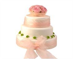Svatební dort 35 Třípatrový svatební dort, o rozměrech 24 cm, 32 cm a 40 cm, obalen fondánem, dozdoben stuhami a živými květy Cake, Food, Pie Cake, Pie, Cakes, Essen, Yemek, Meals, Cookie