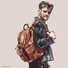 @jimchapman with @coach Sport Calf leather backpack. 2015 © Seung Won Hong  #coach #backpack #ny #collaboration #illustration #artwork #digitalpainting #seungwonhong #fashion #art #daily #ootd #menswear #mensfashion #fashionillustration #leather #merrychristmas #backpack #bag
