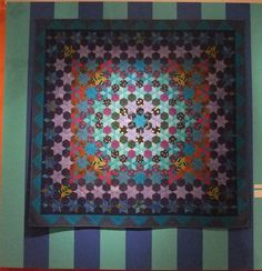 Kaffe Fassett quilt from the exhibit at the Fashion and Textile Museum in Bermondsey