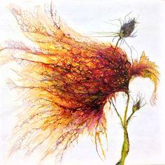 Tormey_Floral Form V_encaustic, shellac and ink on Alcohol Ink Painting, Alcohol Ink Art, Contemporary Abstract Art, Encaustic Painting, Online Painting, Hanging Art, Flower Art, Flowers, Artwork