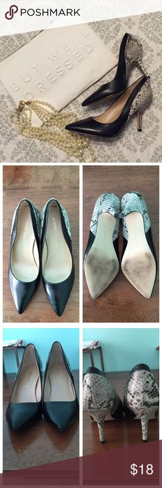 """Audrey Brooke Pump Black pump with snakeskin heel. Leather upper. 3"""" heel. Super comfy!  I just have too many black pumps. Labeled as a 7 but they fit like a 7.5. Only worn once. Audrey Brooke Shoes Heels"""