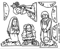 Nativity Scene Coloring Page Sunday school Craft and Churches