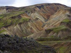The multi-colored highlands in Landmannalaugar near the Hekla volcano beckon hikers June through September.
