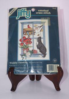 Jiffy NEW Sunset Dimensions Wishful Thinking Cat Birds Counted Cross Stitch Kit #Jiffy #Picture