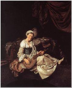 "Cornelis Bega (c1631-1664) The Lute Player Oil on canvas 1662 35 x 32 cm (13.78"" x 12.6"")"