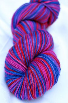 """Self Striping Merino and Nylon Fingering Weight Sock Yarn in """"Bachelor's Buttons"""""""