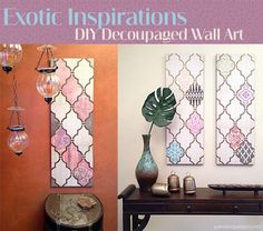 DIY Decoupage Wall Art with a Flair for the Exotic. Via Paint + Pattern