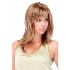 Angelique Wig by Jon Renau: The straight, long layered tresses and soft bangs of this wig will impress everyone! Plus, O'solite construction will always look and feel perfect.