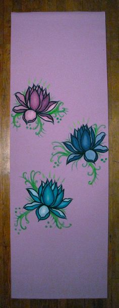 Yoga Mat Hand Painted Made To Order/Custom Lotuses by MakerMamma