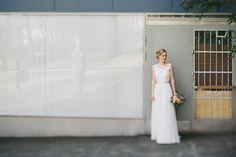 Real wedding in Finland. Dress made by Pukuni (www.pukuni.fi). Lace and chiffon wedding dress, open back.