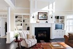 Image result for built in bookcases around fireplace