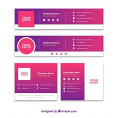 Email signature collection in gradient style Free Vector Company Email Signature, Professional Email Signature, Html Email Signature, Firma Email, Email Design, Ad Design, Flyer Design, Logo Design, Email Signatures