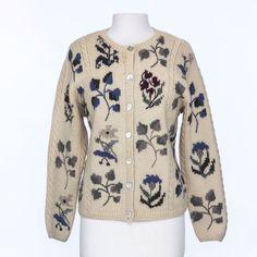 Hand Knit Talbots 100% Wool Womens Sweater Size Medium Beige Floral #Talbots #Cardigan