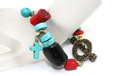 Going Tribal! White Turquoise, Blue Turquoise, Red Coral, Black Coral, Brass and Silver Bracelet   AyaDesigns - Jewelry on ArtFire
