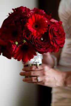 Crimson wedding flowers, scarlet bridal bouquet, red gerbera daisy bouquet, red garden rose bridal bouquet