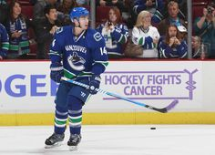 Alex Burrows uses a lavender-taped stick as he warms up on Hockey Fights Cancer night for the NHL game against the Washington Capitals [Oct Nhl News, Nhl Games, San Jose Sharks, Vancouver Canucks, Washington Capitals, Ice Hockey, Travel Quotes, Cancer, Baseball Cards