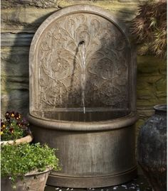 Campania International Corsini Wall Cast Stone Fountain - traditional - outdoor fountains - Hayneedle