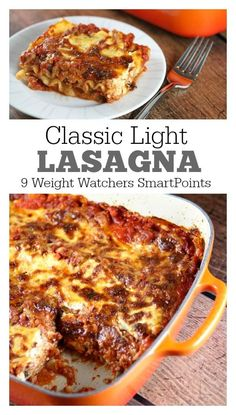 Classic Light Lasagna Recipe - this is the best lasagna ever, and it has been lightened up!  364 calories and 9 Weight Watchers SmartPoints per serving.