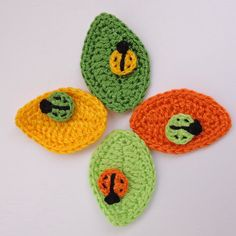 Crochet Applique Big Leaves with Ladybugs, Flowers or Butterfly 4 pcs choose- From Cotton Yarn- Supplies For Clothing, Hair Clips, Handbags Crochet Bunting, Love Crochet, Crochet Motif, Crochet Baby, Knit Crochet, Crochet Patterns, Crochet Appliques, Crochet Snail, Crochet Elephant