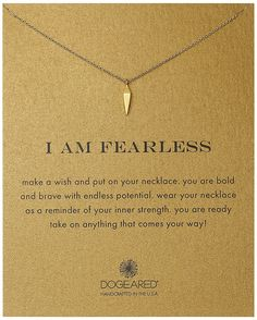Dogeared I Am Fearless Faceted Spear Gold Dipped Chain Necklace 18 -- Check this awesome product by going to the link at the image. Simple Jewelry, Cute Jewelry, Jewelry Trends, Jewelry Accessories, Meaningful Necklace, Jewelery, Jewelry Necklaces, Diamond Are A Girls Best Friend, Thoughtful Gifts