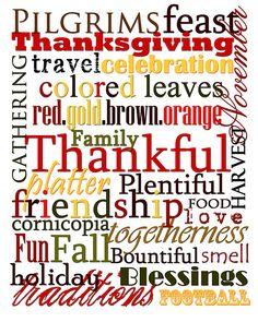 Thanksgiving subway art Print