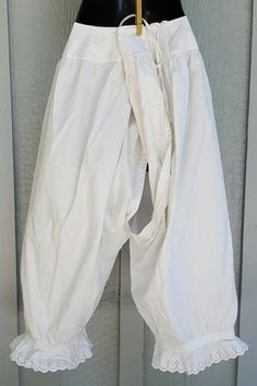 Pantaloons - undergarment worn by women under dresses. Before this century women wore nothing under their garments. However, during this time women's dresses became a lot lighter and sheer, calling for a garment like so.