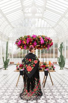 Inspired by Frida Kahlo colourful floral wedding editorial, dress by Joanne Fleming Design, photo by Roberta Facchini Fern Wedding, Floral Wedding, Witch Wedding, Edgy Wedding, Frida Kahlo Wedding, Handmade Wedding Dresses, Strictly Weddings, Bridal Beauty, Wedding Looks