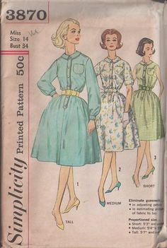 MOMSPatterns Vintage Sewing Patterns - Simplicity 3870 Vintage 60's Sewing Pattern CLASSIC Retro Housewife Proportioned Shirtwaist Colalred Dress with Full Bell Shaped Skirt