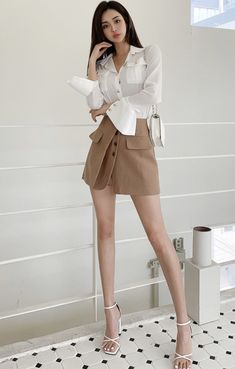Beautiful Asian Women, Beautiful Legs, Korean Beauty, Asian Beauty, Asian Model Girl, Shirred Dress, Satin Skirt, Asian Woman, Beauty Women