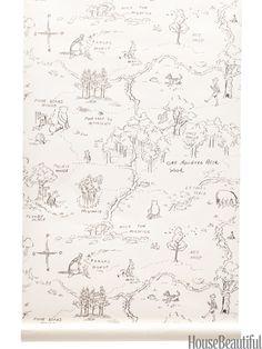 Winnie the Pooh One Hundred Acre Wood Map Wallpaper Wood Nursery, Nursery Neutral, Nursery Ideas, Kids Room Wallpaper, Wood Wallpaper, Charcoal Wallpaper, Peter Rabbit, Winnie Pooh Kindergarten, Kindergarten Wallpaper