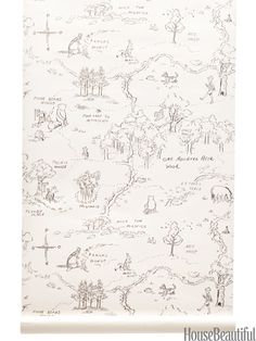 One Hundred Acre Wood Map by Jane Churchill. cowtan.com. #winniethepooh #kidsroom #drawing