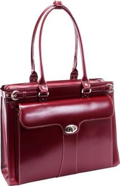 "McKlein USA Quincy Leather 15.4"" Ladies' Briefcase Red - via eBags.com!"