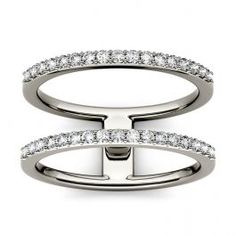 Forever One 0.34CTW Round Colorless Moissanite Double Band Geometric Fashion Ring in 14K White Gold, SIZE 6
