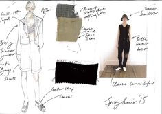 Fashion Sketchbook - fashion design sketch & fabric swatches; SS15 fashion collection development // Margaret Howell