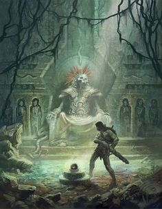 Artwork: Ancient Gods by fantasy artist Daren Bader. See more artwork by this featured artist on the fantasy gallery website. Fantasy Places, Fantasy World, Fantasy Artwork, Dark Fantasy, Dcc Rpg, Creation Art, Conan The Barbarian, Sword And Sorcery, Fantasy Setting