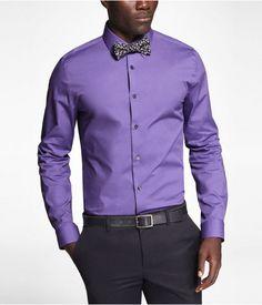 Express Mens 1Mx Modern Fit Spread Collar Shirt Chelsea Blue ...