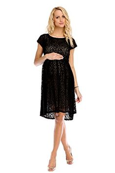 d5213ae75849 My Tummy Womens Maternity Dress Chic Scarlett BlackBeige Lace L Large      You can